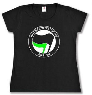 tailliertes T-Shirt: Antispeziesistische Aktion (schwarz/grün)