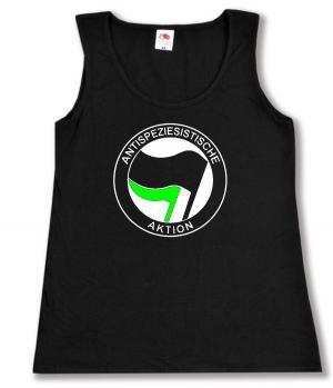 tailliertes Tanktop: Antispeziesistische Aktion (schwarz/grün)