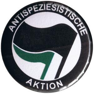 37mm Magnet-Button: Antispeziesistische Aktion (schwarz/grün)