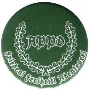 25mm Button: APPD Ährenkranz Frieden! Freiheit! Abenteuer! (grün)