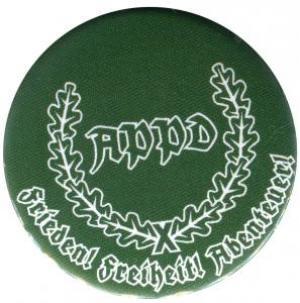 25mm Magnet-Button: APPD Ährenkranz Frieden! Freiheit! Abenteuer! (grün)