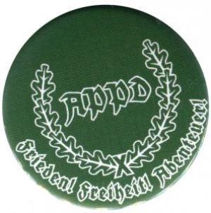 37mm Button: APPD Ährenkranz Frieden! Freiheit! Abenteuer! (grün)