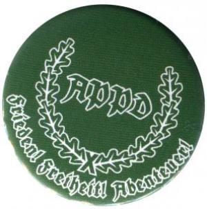 37mm Magnet-Button: APPD Ährenkranz Frieden! Freiheit! Abenteuer! (grün)