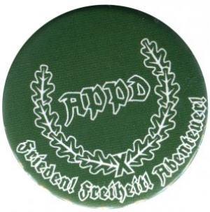 50mm Magnet-Button: APPD Ährenkranz Frieden! Freiheit! Abenteuer! (grün)