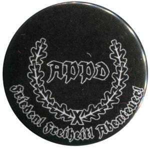 25mm Button: APPD Ährenkranz Frieden! Freiheit! Abenteuer! (schwarz)