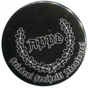 37mm Magnet-Button: APPD Ährenkranz Frieden! Freiheit! Abenteuer! (schwarz)