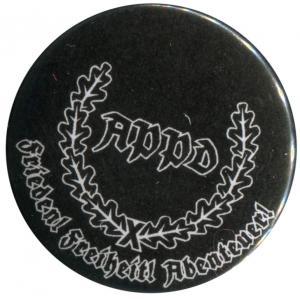 50mm Button: APPD Ährenkranz Frieden! Freiheit! Abenteuer! (schwarz)