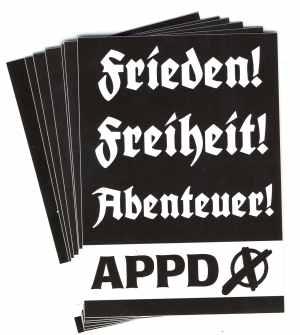 Aufkleber-Paket: APPD - Frieden! Freiheit! Abenteuer!