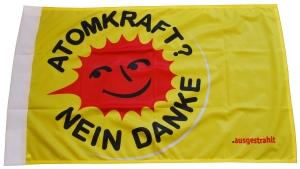 Fahne / Flagge (ca. 150x100cm): Atomkraft? Nein Danke (groß)