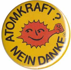 50mm Magnet-Button: Atomkraft? Nein Danke - mit Faust