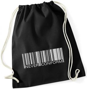 Sportbeutel: Barcode - Never conform