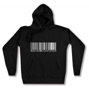 taillierter Kapuzen-Pullover: Barcode - Never conform