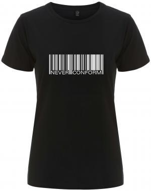 tailliertes Fairtrade T-Shirt: Barcode - Never conform
