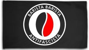 Fahne / Flagge (ca. 150x100cm): Barista Barista Antifascista (Bohne)