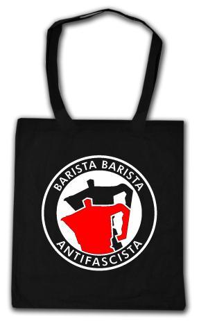 Baumwoll-Tragetasche: Barista Barista Antifascista (Moka)