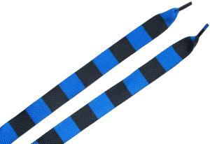 Schnürsenkel: Blau/schwarz quergestreifte Schnürsenkel