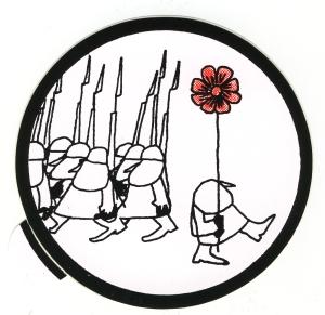 Aufkleber: Blume gegen Gewehre