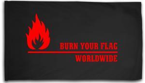 Fahne / Flagge (ca. 150x100cm): Burn your flag - worldwide (red)