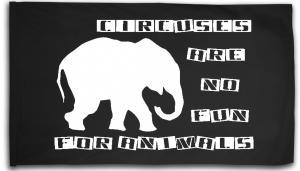 Fahne / Flagge (ca. 150x100cm): Circuses are no fun for animals
