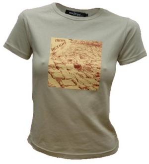 tailliertes T-Shirt: cobblestone - zweifarbig