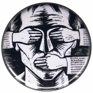 50mm Magnet-Button: consume! sensationalism! scandal!