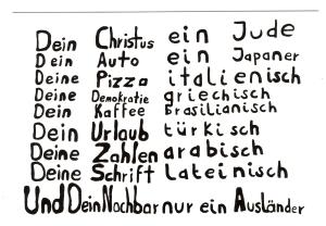 Postkarte: Dein Christus ein Jude ... und Dein Nachbar nur ein Ausländer