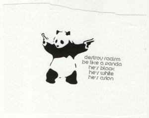 Aufnäher: destroy racism - be like a panda