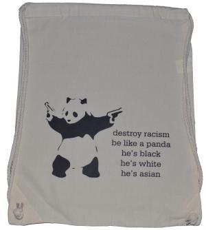 Sportbeutel: destroy racism - be like a panda