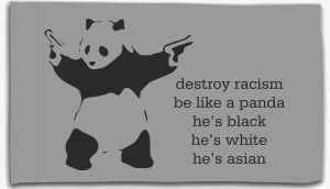 Fahne / Flagge (ca. 150x100cm): destroy racism - be like a panda