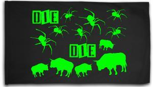 Fahne / Flagge (ca. 150x100cm): Die Spinnen Die Bullen (grün)