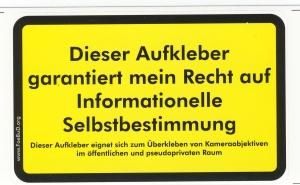 Aufkleber: Dieser Aufkleber garantiert mein Recht auf Informationelle Selbstbestimmung