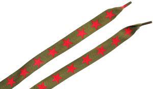 Schnürsenkel: Dunkelgrüne Schnürsenkel mit roten Sternen