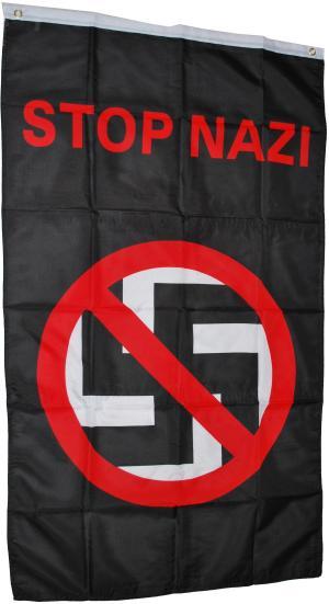 Fahne / Flagge (ca. 150x100cm): Durchgestrichenes Hakenkreuz - Stop Nazi