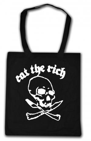 Baumwoll-Tragetasche: Eat the rich (Totenkopf)