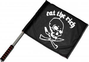 Fahne / Flagge (ca. 40x35cm): Eat the rich (Totenkopf)
