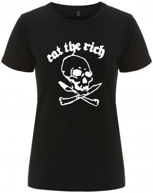 tailliertes Fairtrade T-Shirt: Eat the rich (Totenkopf)
