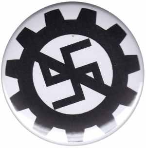 37mm Magnet-Button: EBM gegen Nazis