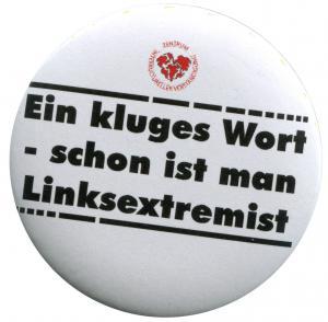 50mm Button: Ein kluges Wort - schon ist man Linksextremist