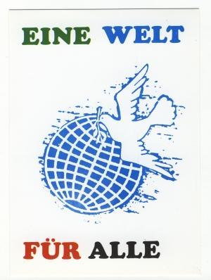 Postkarte: Eine Welt für alle