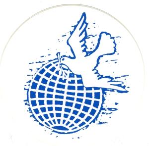 Aufkleber: Erde mit Friedenstaube
