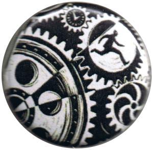 25mm Button: Eric Drooker: Zahnräder