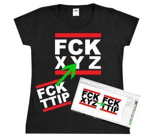 tailliertes T-Shirt: FCK XYZ