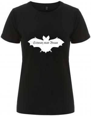 tailliertes Fairtrade T-Shirt: Fledermaus - schwarz statt braun