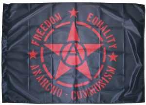 Fahne / Flagge (ca 150x100cm): Freedom - Equality - Anarcho - Communism