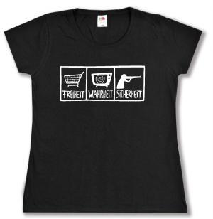 tailliertes T-Shirt: Freiheit - Wahrheit - Sicherheit