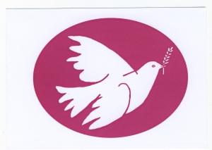 Postkarte: Friedenstaube mit Zweig