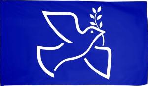 Fahne / Flagge (ca. 150x100cm): Friedenstaube mit Zweig