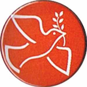 37mm Magnet-Button: Friedenstaube mit Zweig (rot)