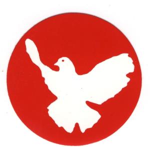 Aufkleber: Friedenstaube (rot)
