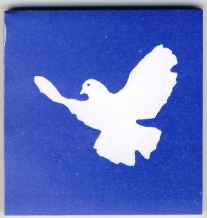 Spucki / Schlecki / Papieraufkleber: Friedenstaube